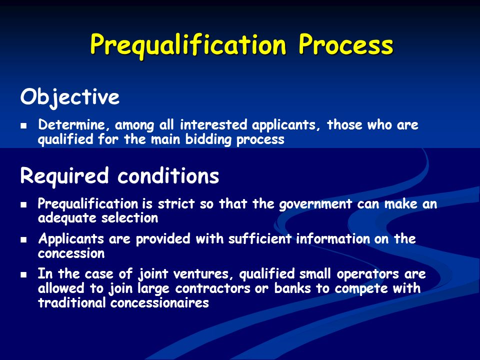 Prequalification Process