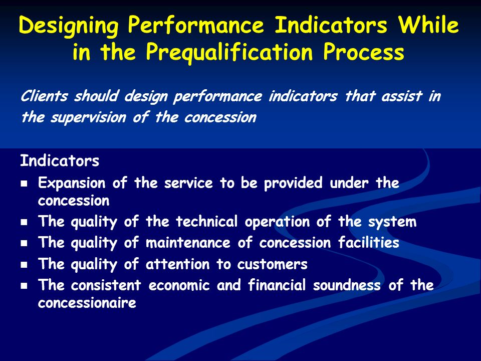 Designing Performance Indicators While in the Prequalification Process