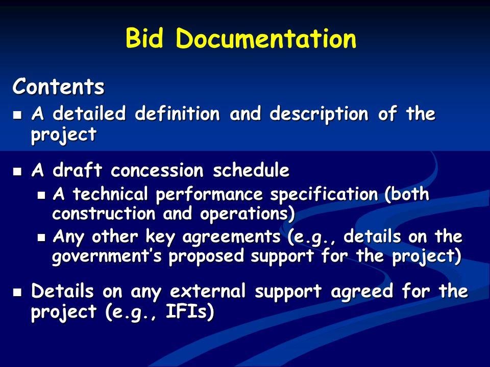 Bid Documentation Contents