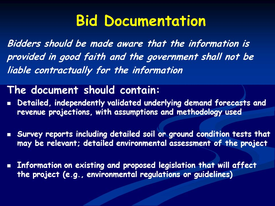 Bid Documentation The document should contain: