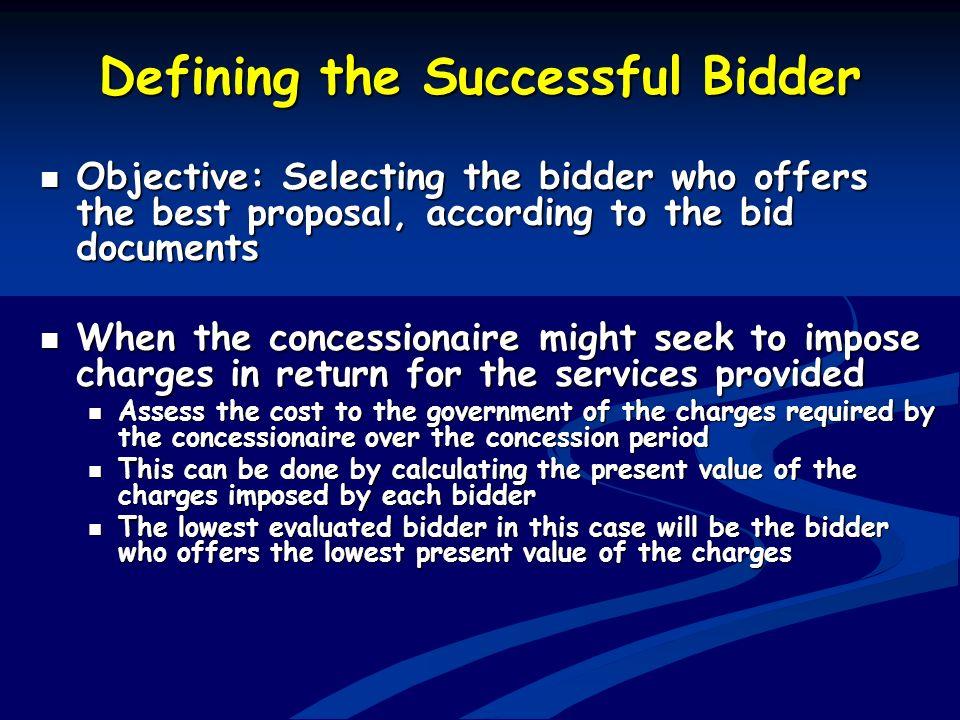 Defining the Successful Bidder