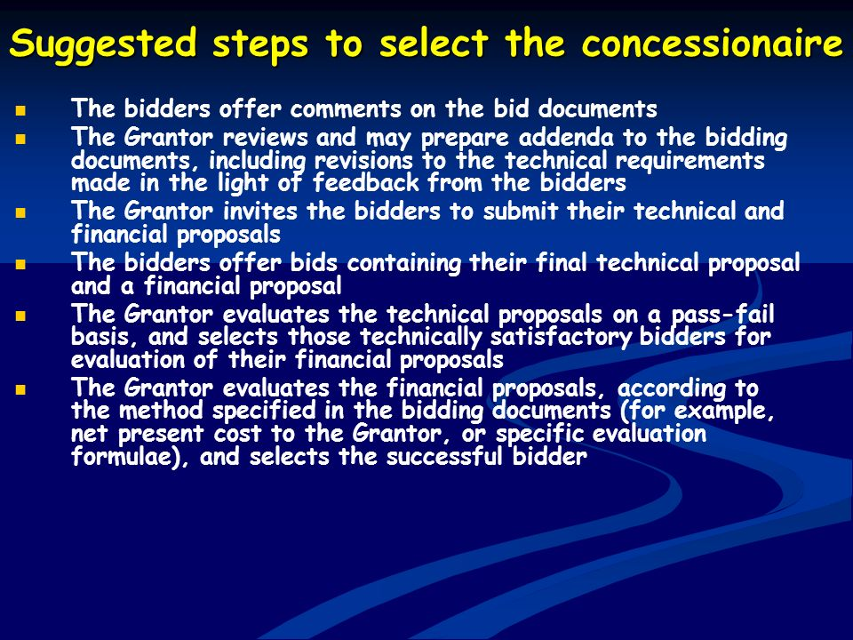 Suggested steps to select the concessionaire