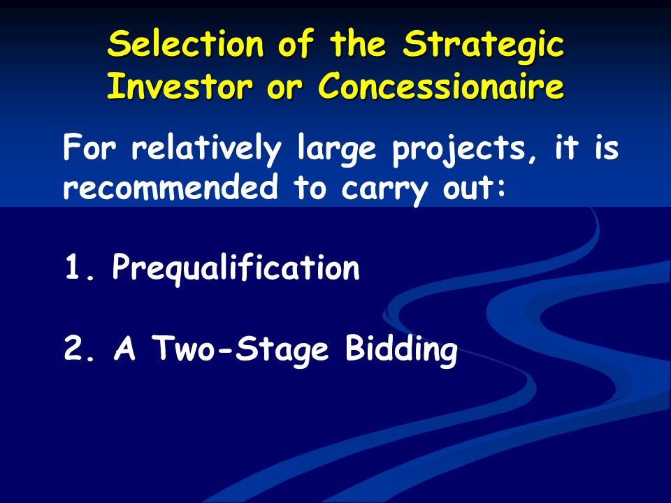 Selection of the Strategic Investor or Concessionaire
