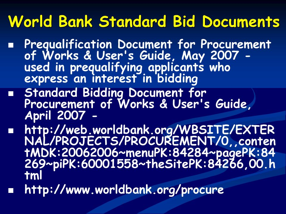 World Bank Standard Bid Documents