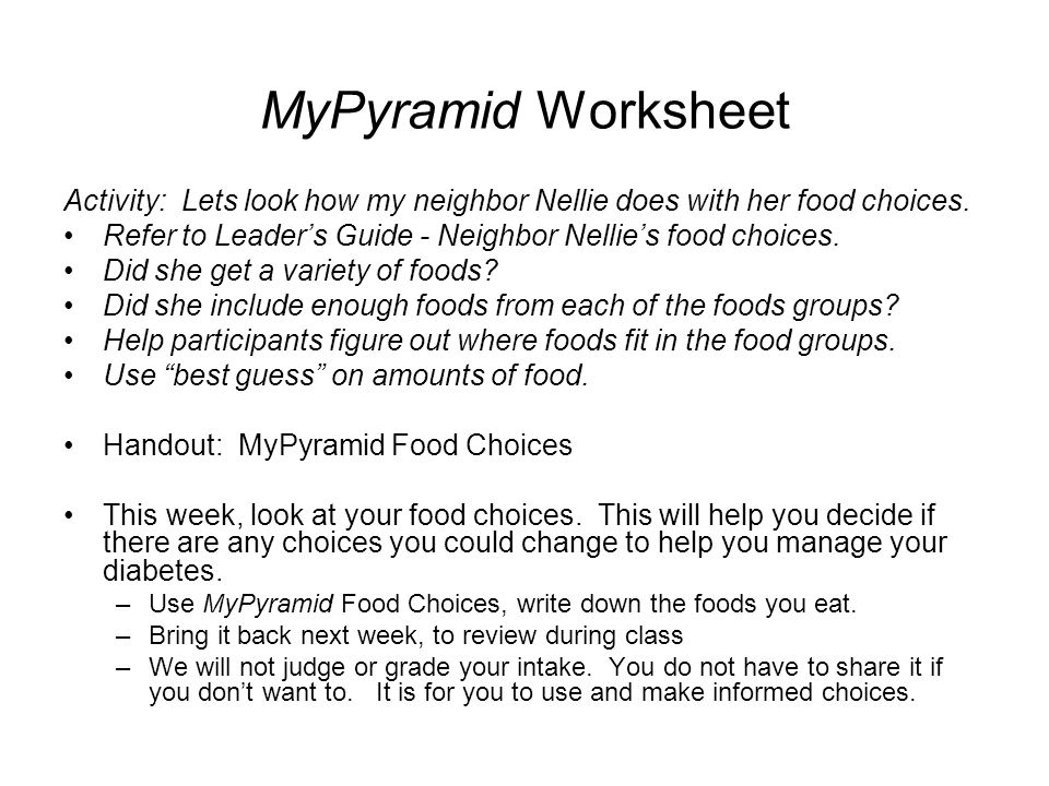 Take Charge of Your Diabetes ppt download – Mypyramid Worksheet