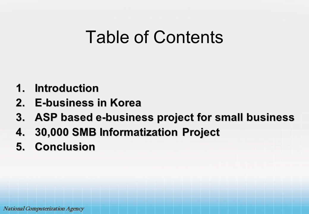Table of Contents Introduction E-business in Korea