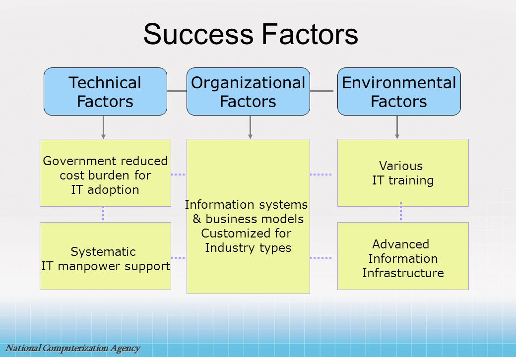 Success Factors Technical Factors Organizational Factors Environmental