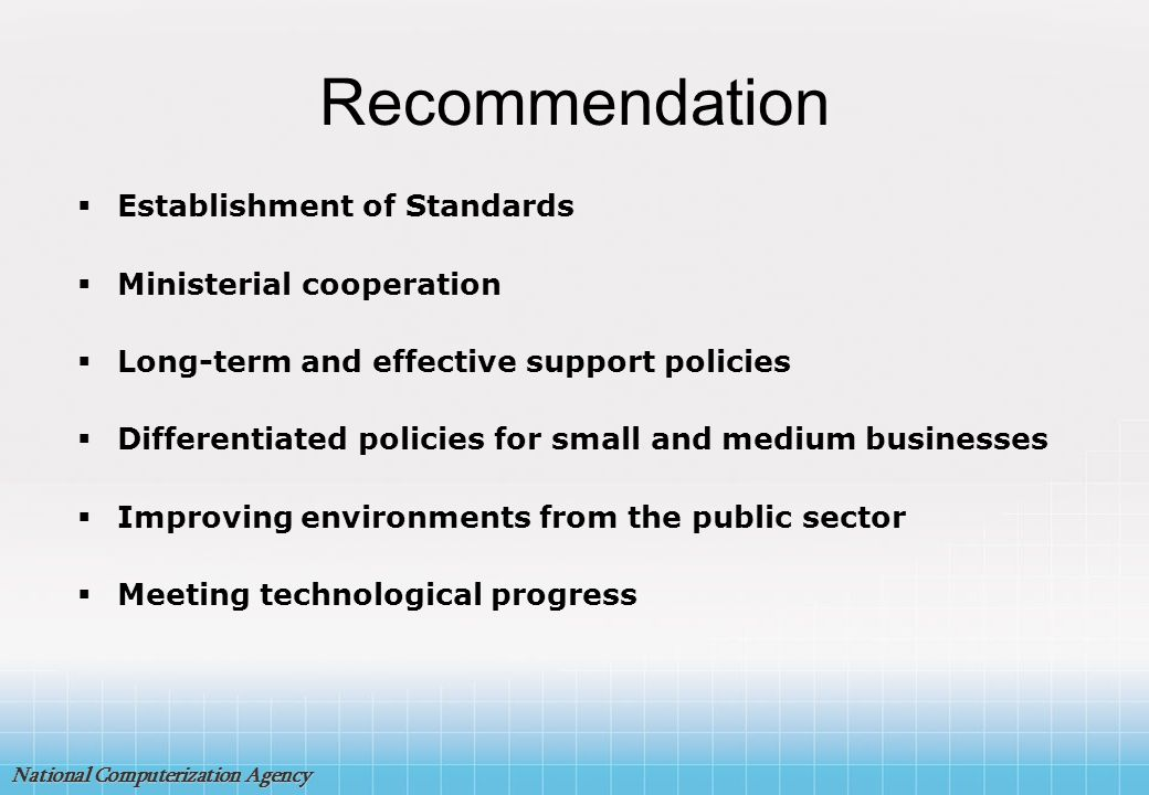 Recommendation Establishment of Standards Ministerial cooperation