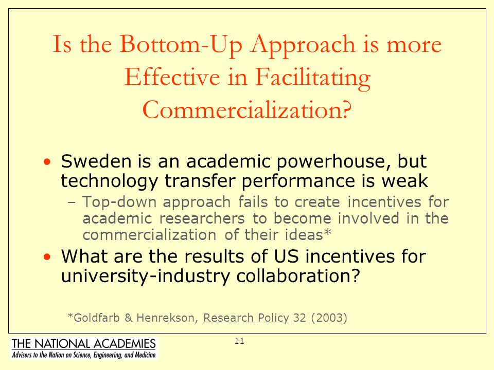 Is the Bottom-Up Approach is more Effective in Facilitating Commercialization