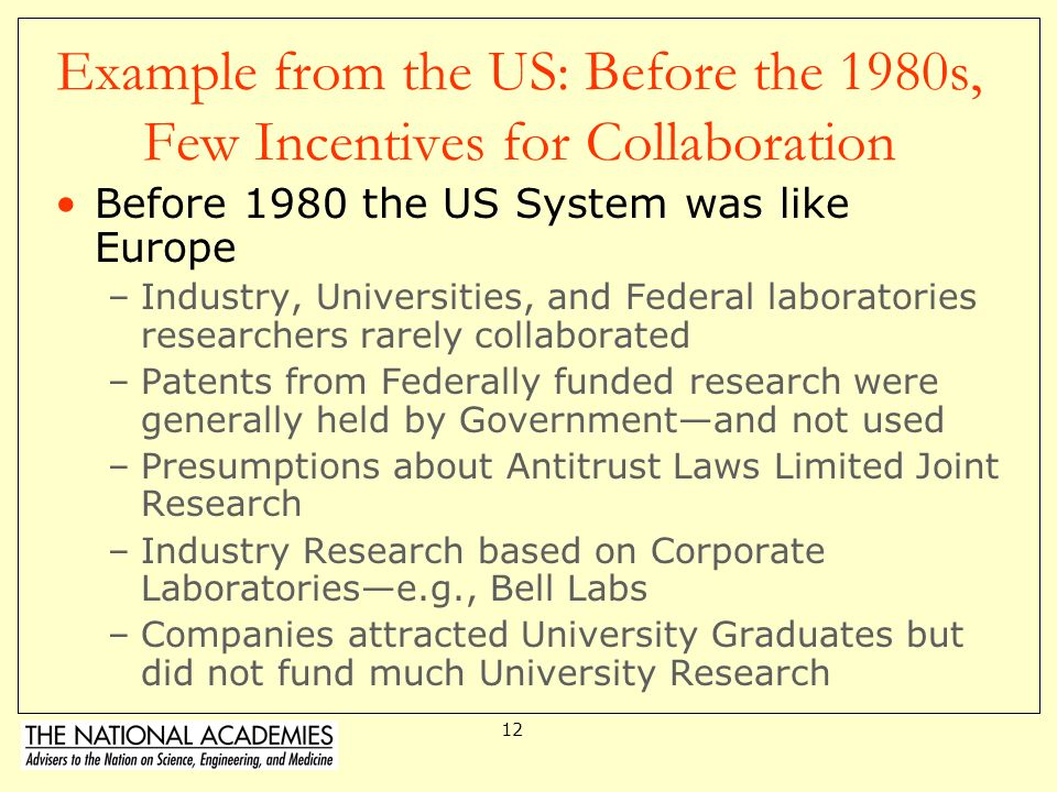 Example from the US: Before the 1980s, Few Incentives for Collaboration