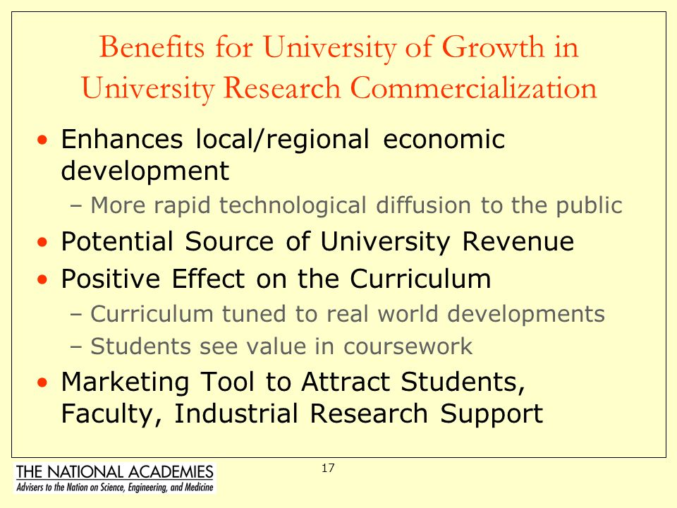 Benefits for University of Growth in University Research Commercialization