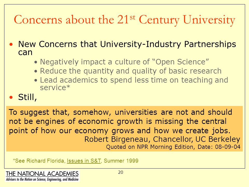 Concerns about the 21st Century University