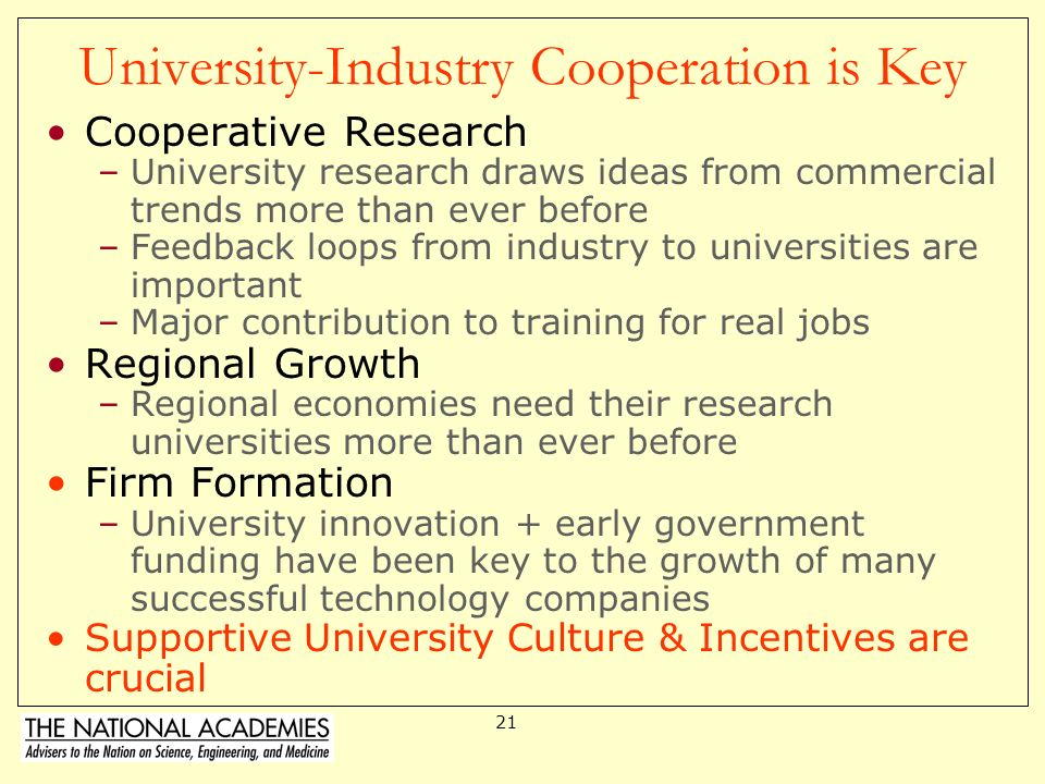 University-Industry Cooperation is Key