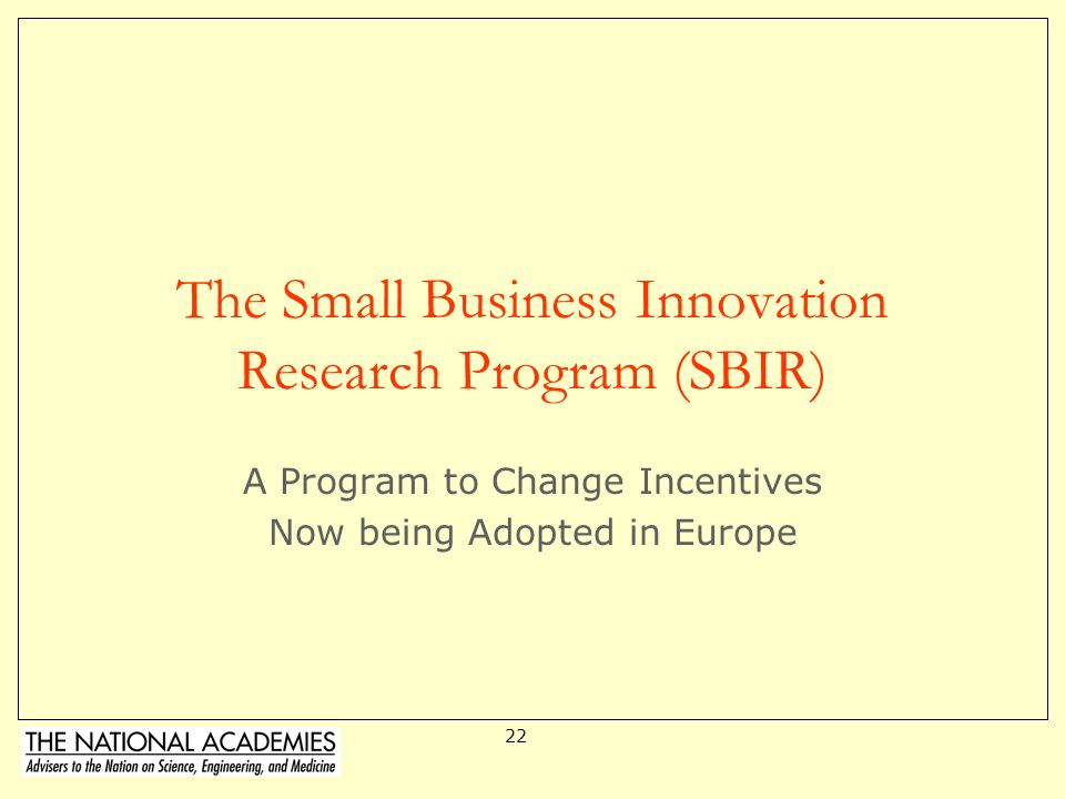 The Small Business Innovation Research Program (SBIR)