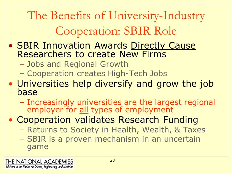 The Benefits of University-Industry Cooperation: SBIR Role
