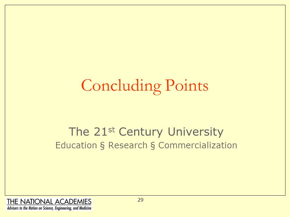 The 21st Century University Education § Research § Commercialization