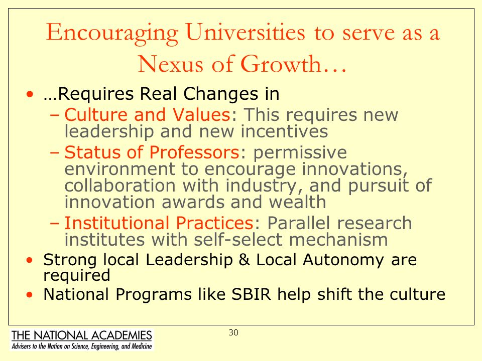 Encouraging Universities to serve as a Nexus of Growth…