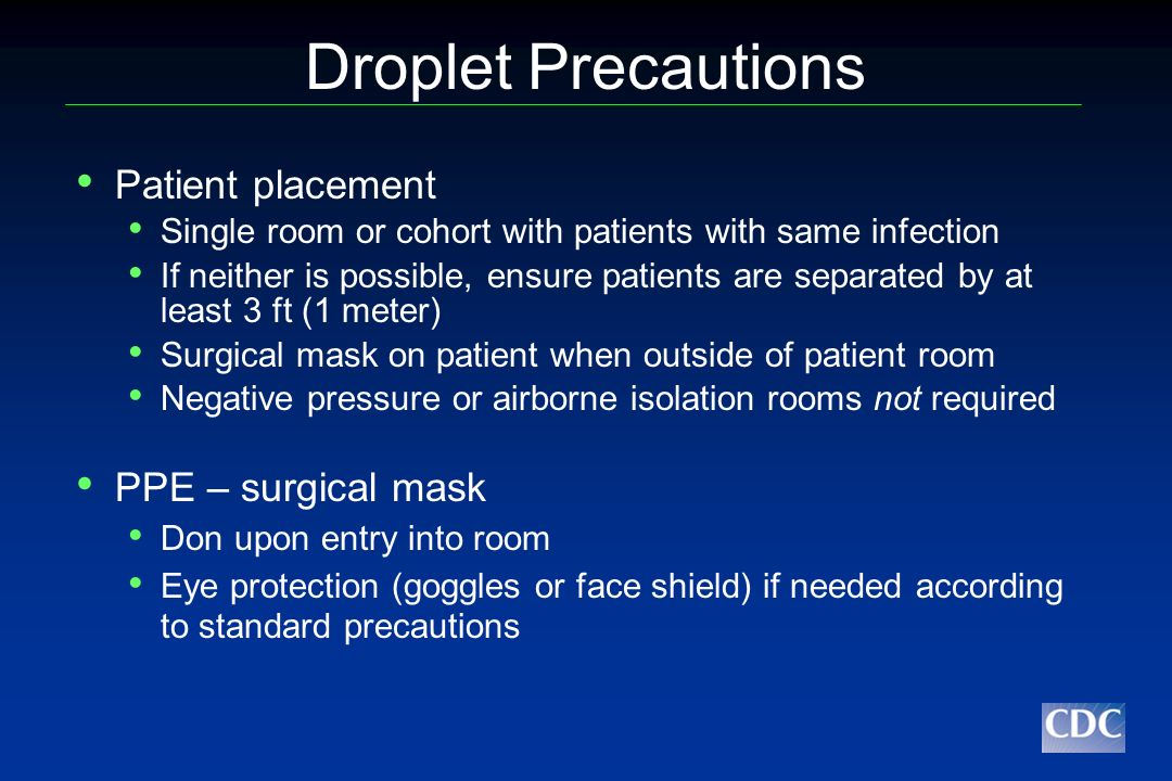 Droplet Precautions Patient placement PPE – surgical mask