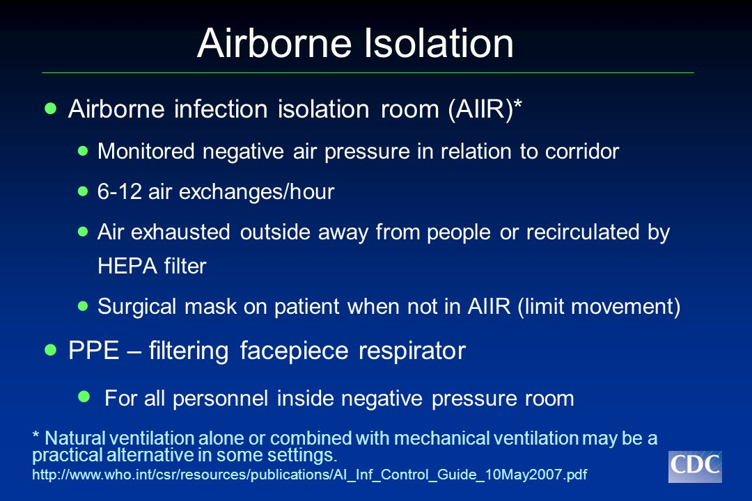 Airborne Isolation Airborne infection isolation room (AIIR)*