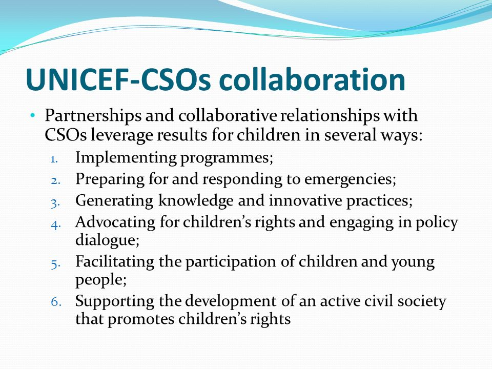 UNICEF-CSOs collaboration