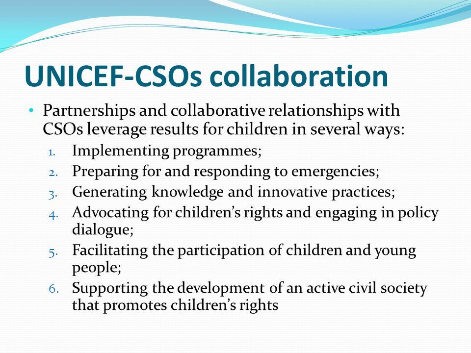UNICEF-CSOs collaboration