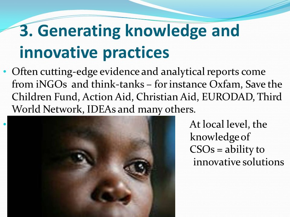 3. Generating knowledge and innovative practices