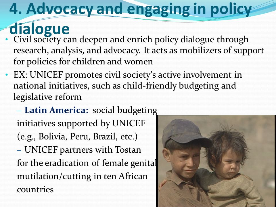 4. Advocacy and engaging in policy dialogue
