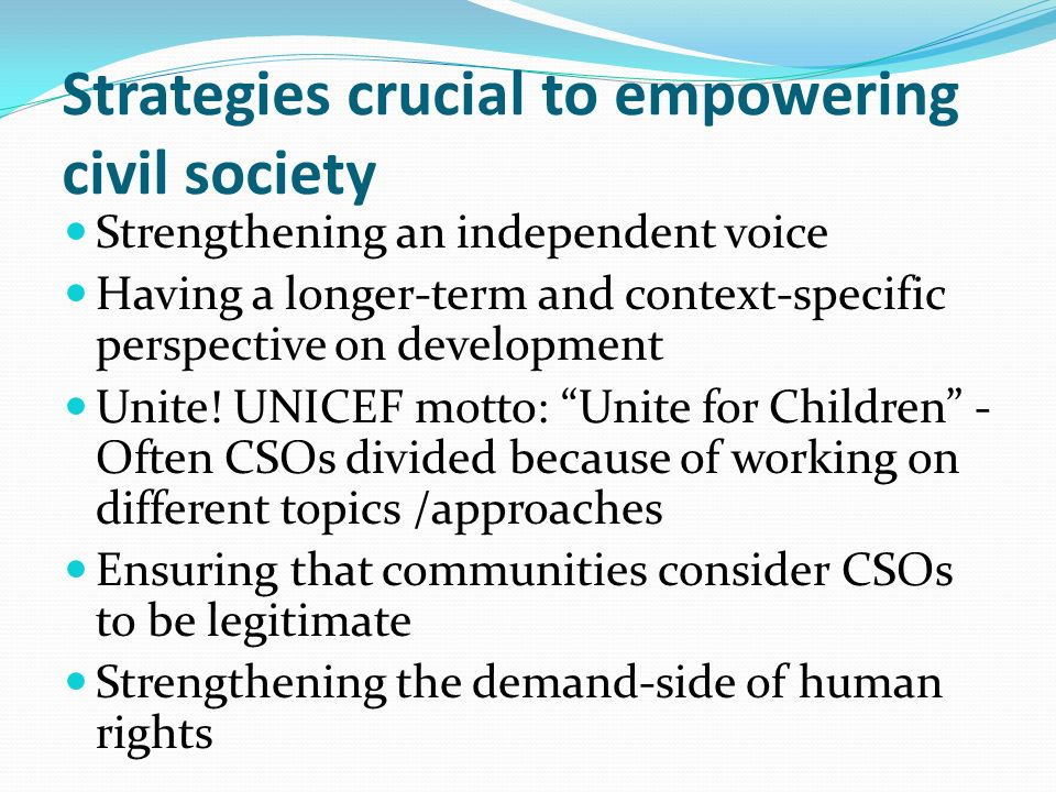 Strategies crucial to empowering civil society