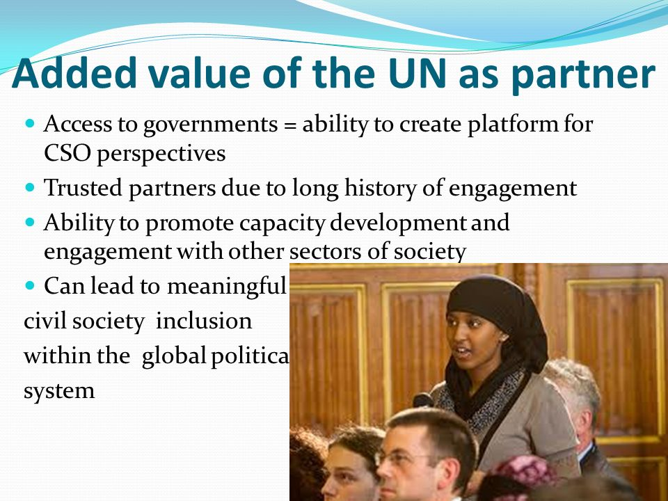 Added value of the UN as partner