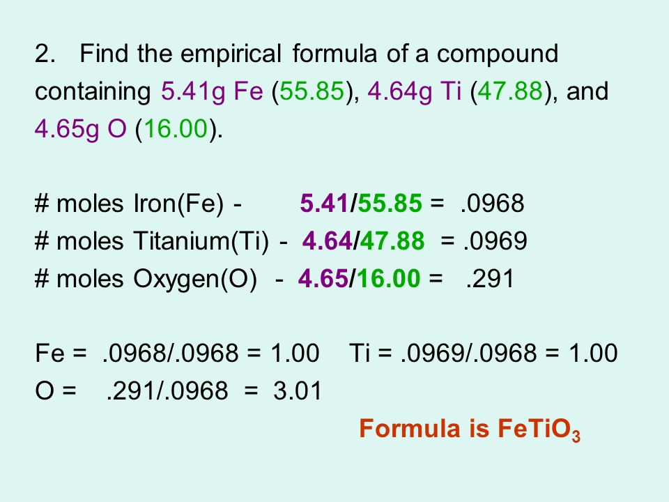 how to find the formula of a compound