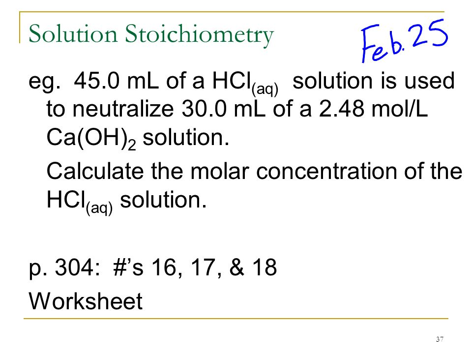 Solution Chemistry Chp 7 ppt download – Solution Stoichiometry Worksheet