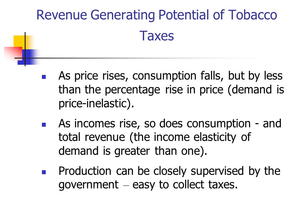 Revenue Generating Potential of Tobacco Taxes