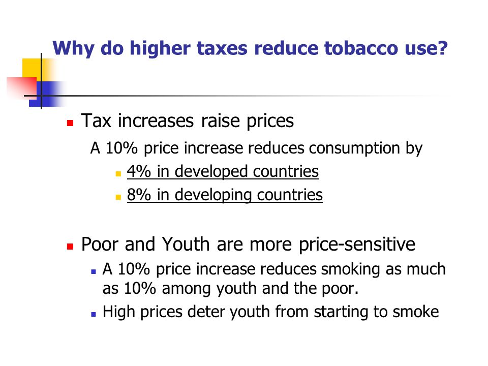 Why do higher taxes reduce tobacco use