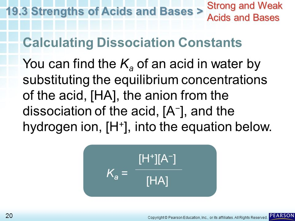 an experiment on the calculation of the dissociation constant for a weak unknown acid As a rule: we can ignore the dissociation of water when k a c a for a weak acid is larger than 10 x 10-13 when k a c a is smaller than 10 x 10 -13 , the dissociation of water must be included in the calculation.