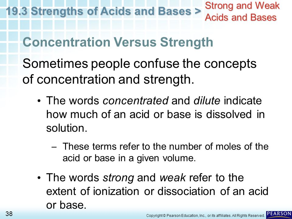 comparing strong and weak acids Any acid that is not a strong acid is considered to be a weak acid however, comparing the values of weak acids is very useful the p notation can be.