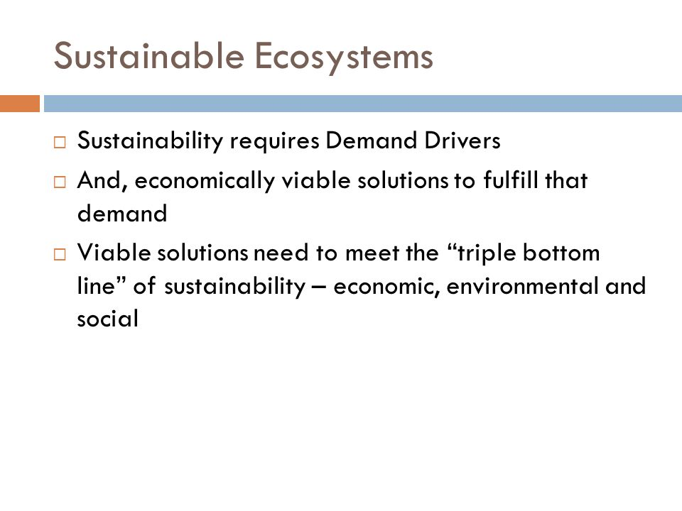 Sustainable Ecosystems