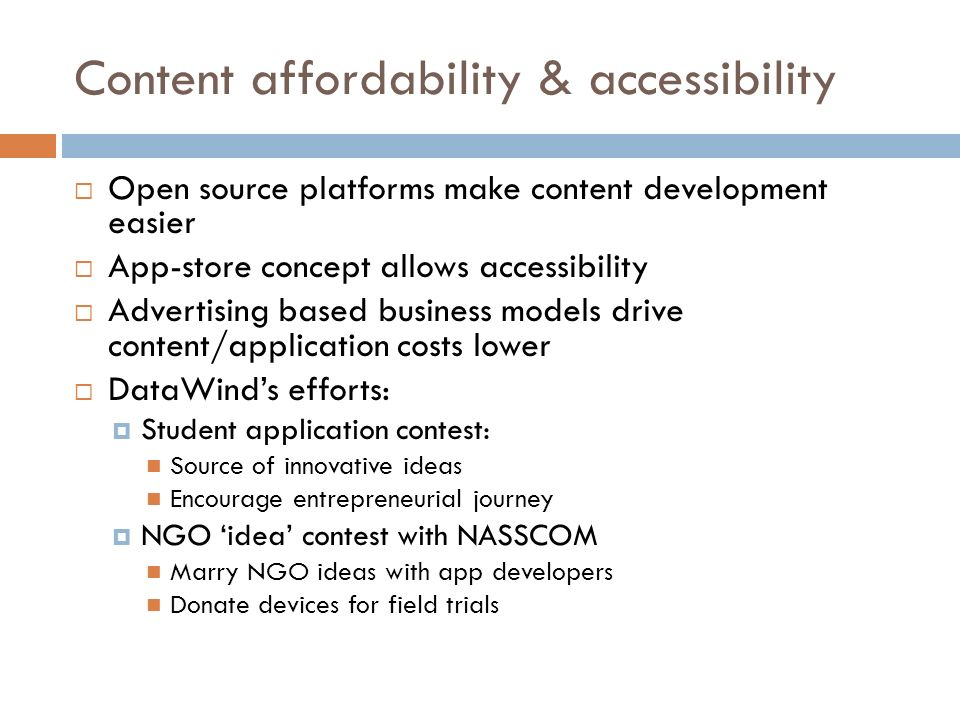 Content affordability & accessibility