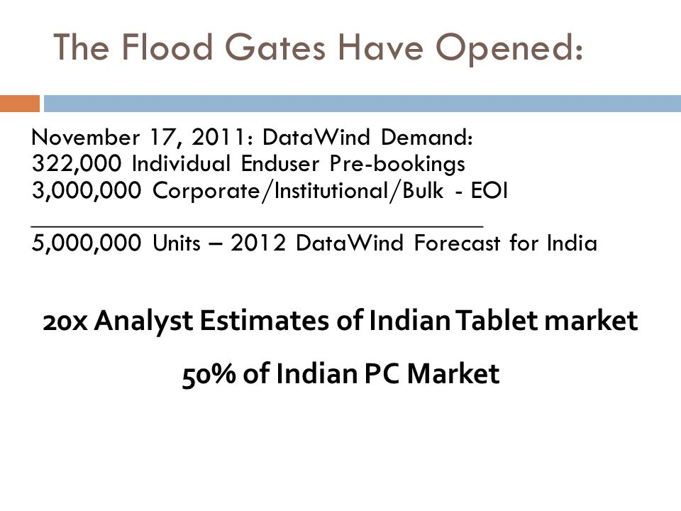 20x Analyst Estimates of Indian Tablet market