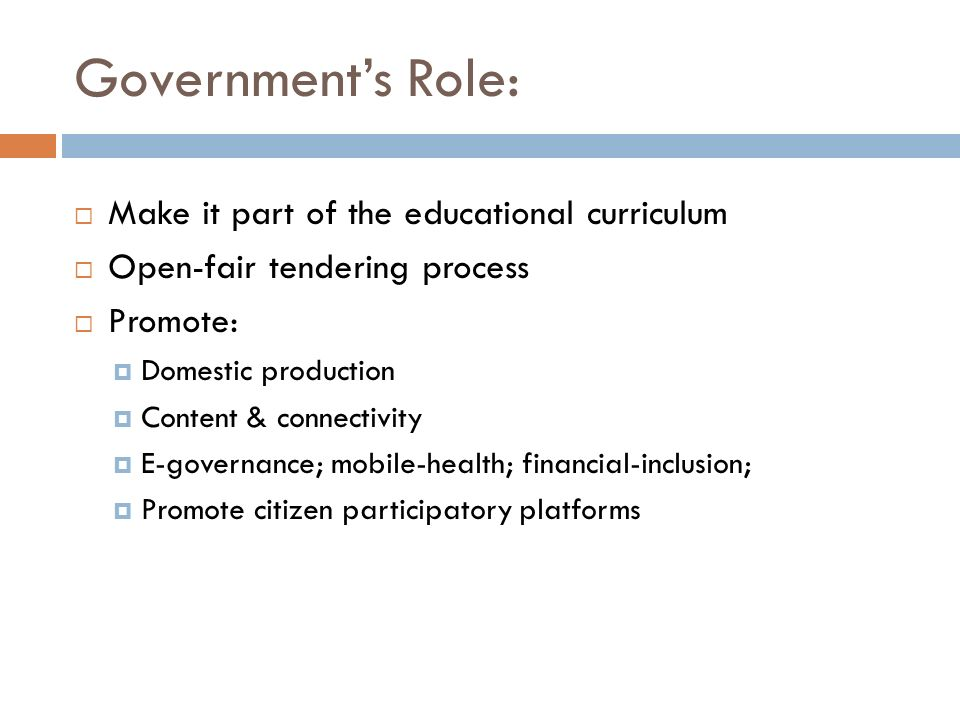 Government's Role: Make it part of the educational curriculum