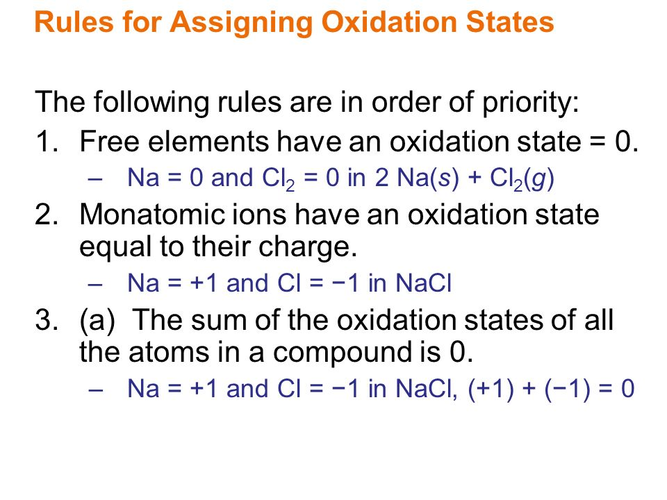 assigning oxidation states The oxidation state, sometimes referred to as oxidation its coverage can be extended either by a list of exceptions or by assigning priority to the postulates.