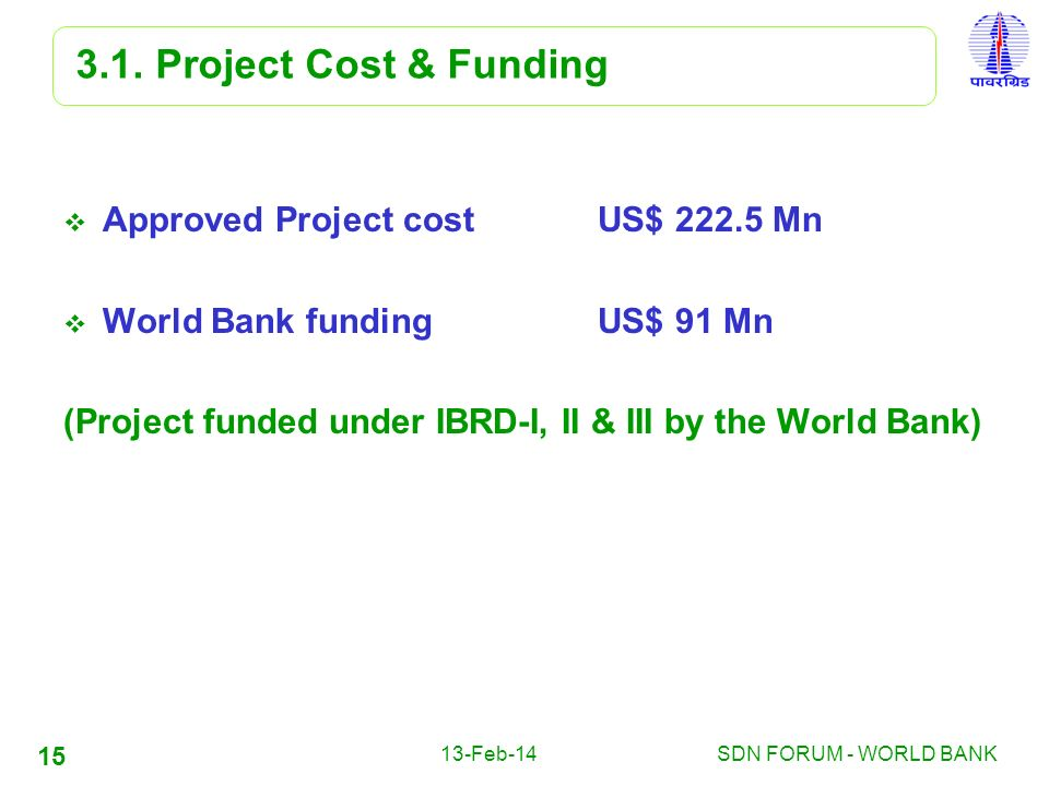 3.1. Project Cost & Funding Approved Project cost US$ 222.5 Mn