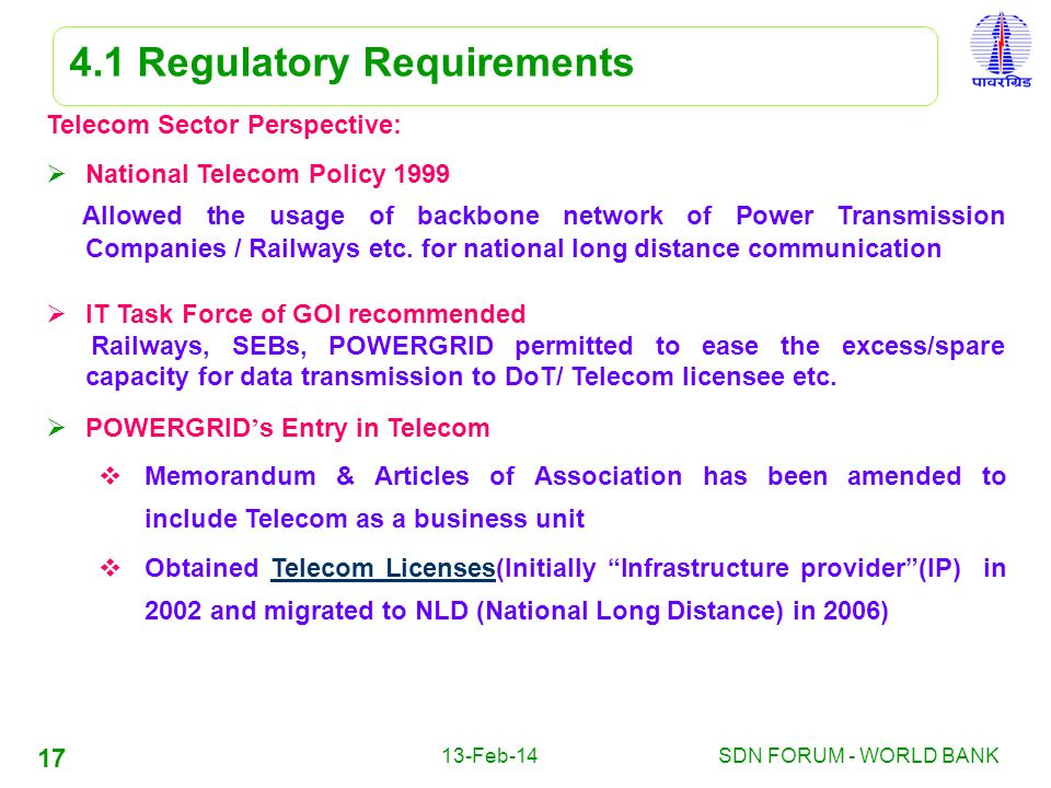 4.1 Regulatory Requirements