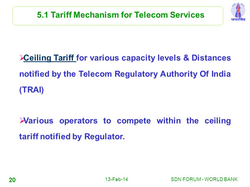 5.1 Tariff Mechanism for Telecom Services