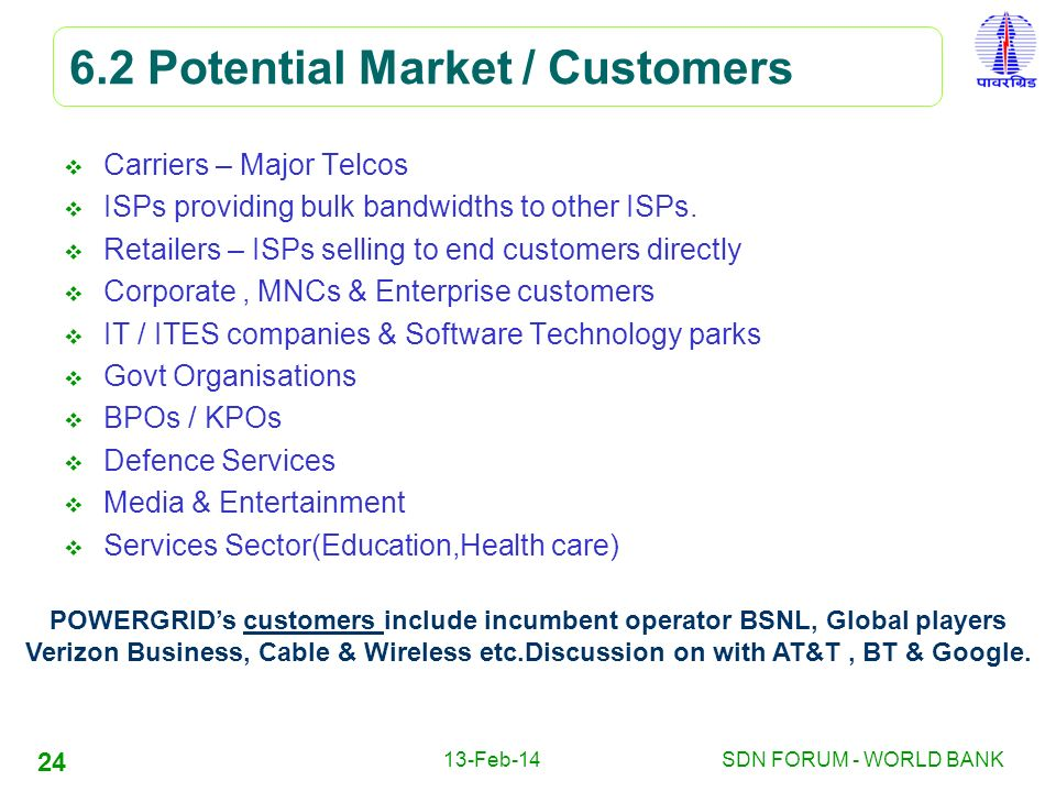 6.2 Potential Market / Customers