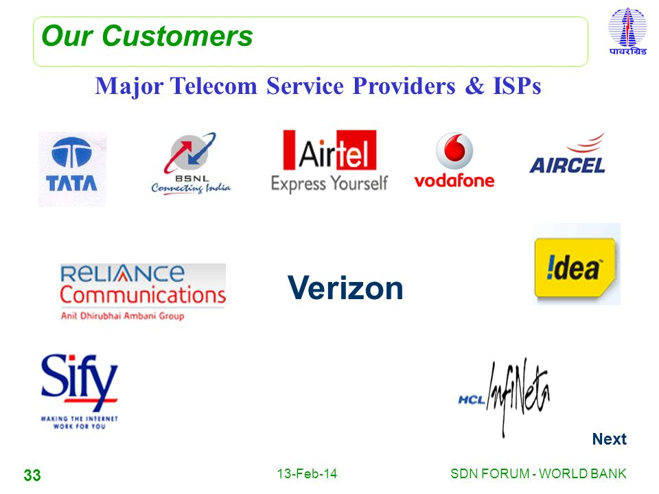 Verizon Our Customers Major Telecom Service Providers & ISPs Next