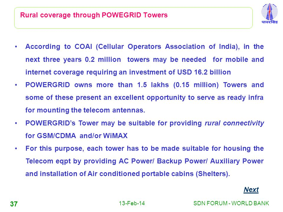 Rural coverage through POWEGRID Towers