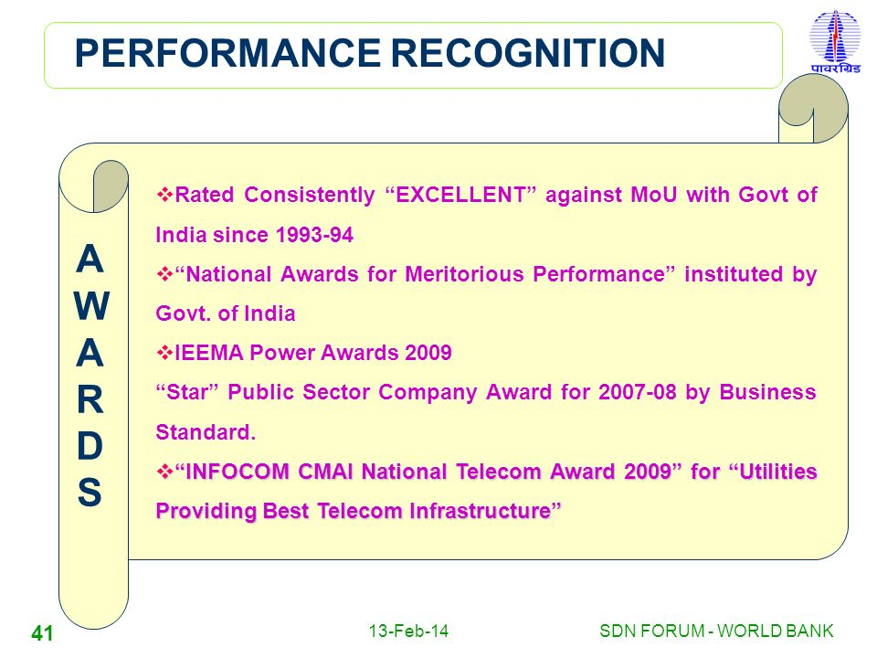 PERFORMANCE RECOGNITION