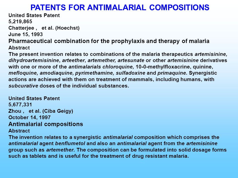 PATENTS FOR ANTIMALARIAL COMPOSITIONS