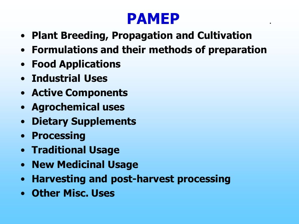 PAMEP . Plant Breeding, Propagation and Cultivation