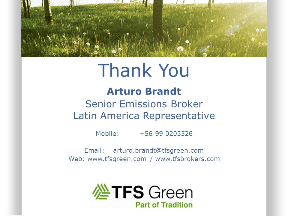 Thank You Arturo Brandt Senior Emissions Broker